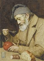 Albert Anker - Bilder Gemälde - Alter Mann Suppe essend