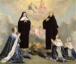 Philippe de Champaigne - Bilder Gemälde - Anne of Austria and her Children at Prayer with St. Benedict and St. Scholastica