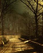 John Atkinson Grimshaw - Bilder Gemälde - A Moonlit Lane, with two lovers by a gate