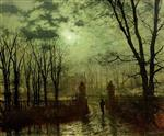 John Atkinson Grimshaw - Bilder Gemälde - At the Park Gate