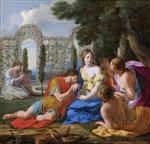 Eustache Le Sueur - Bilder Gemälde - Hypnerotomachia Poliphili, Polyphilus and Polia Accompagnied by Nymphs on Island of Cythera