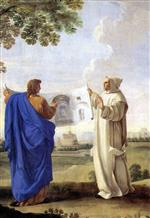 Eustache Le Sueur - Bilder Gemälde - Saint Bruno Examining A Drawing Of The Baths Of Diocletian