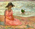 Henri Lebasque - Bilder Gemälde - A girl in a pink robe by the sea