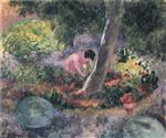 Henri Lebasque - Bilder Gemälde - A woman and child in the garden