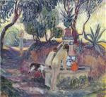 Henri Lebasque - Bilder Gemälde - Bathers at a fountain in Saint Tropez