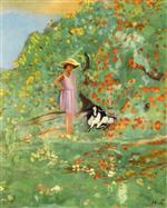 Henri Lebasque  - Bilder Gemälde - Girl and Her Goat