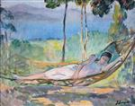 Henri Lebasque  - Bilder Gemälde - Girl in a hammock in Cannes