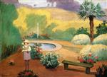 Henri Lebasque  - Bilder Gemälde - Girl near the Fountain