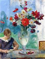 Henri Lebasque  - Bilder Gemälde - Girl Reading and Vase of Flowers