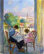 Henri Lebasque  - Bilder Gemälde - Girl Sewing at the Window