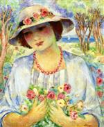 Henri Lebasque  - Bilder Gemälde - Girl with Flowered Hat