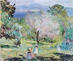 Henri Lebasque  - Bilder Gemälde - Girls in a landscape in Cannes