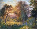 Henri Lebasque  - Bilder Gemälde - Girls in the Forest at Sunset