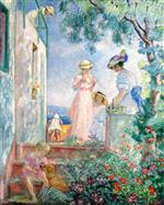 Henri Lebasque  - Bilder Gemälde - Girls on the Terrace, Sainte-Maxime