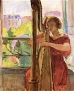 Henri Lebasque  - Bilder Gemälde - Harpist in front of the Window