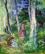 Henri Lebasque  - Bilder Gemälde - In the Forest, the Harvest