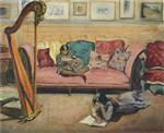 Henri Lebasque  - Bilder Gemälde - Interior with Harp