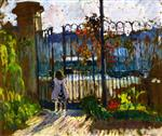 Henri Lebasque  - Bilder Gemälde - Lagny, Nono at the Garden Gate