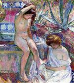 Henri Lebasque  - Bilder Gemälde - Marthe and Madame Lebasque at the Fountain
