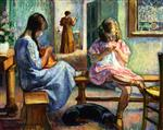 Henri Lebasque  - Bilder Gemälde - Marthe and Nono Sewing