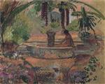 Henri Lebasque  - Bilder Gemälde - Marthe and Pierre at a fountain in Saint Maxime