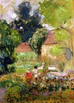 Henri Lebasque  - Bilder Gemälde - Marthe, Nono and Pierre in the Garden