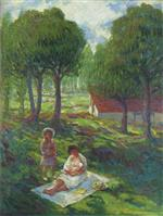 Henri Lebasque  - Bilder Gemälde - Mother and Child in a Landscape