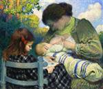 Henri Lebasque  - Bilder Gemälde - Motherhood, Madame Lebasque and Her Children