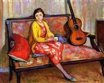 Henri Lebasque  - Bilder Gemälde - Nono and a guitar