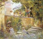 Henri Lebasque  - Bilder Gemälde - Nono and Madame Lebasque in the Garden