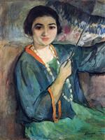 Henri Lebasque  - Bilder Gemälde - Nono with Umbrella