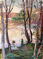 Henri Lebasque  - Bilder Gemälde - Resting on the Banks of the Yaudet