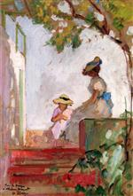 Henri Lebasque  - Bilder Gemälde - Saint Maxime, Madame Lebasque and Her Daughter on the Terrace