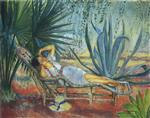 Henri Lebasque  - Bilder Gemälde - Saint-Tropez, Marthe Asleep in a Chaise Lounge