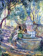Henri Lebasque  - Bilder Gemälde - Saint-Tropez, Two Girls at the Fountain