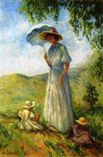 Henri Lebasque  - Bilder Gemälde - Saint-Tropez, Woman and Children in the Sun