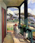 Henri Lebasque  - Bilder Gemälde - Sewing on the terrace at Morgat