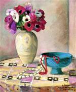 Henri Lebasque  - Bilder Gemälde - Still Life with Anemones and Necklaces