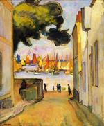 Henri Lebasque  - Bilder Gemälde - Street by the Port at Collioure