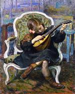 Henri Lebasque  - Bilder Gemälde - The Little Mandolin Player