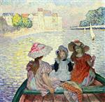Henri Lebasque  - Bilder Gemälde - Three Girls in a boat