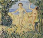 Henri Lebasque  - Bilder Gemälde - Two bathers by the beach