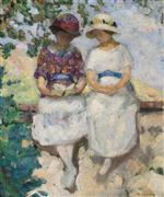 Henri Lebasque  - Bilder Gemälde - Two Girls Seated on a Wall