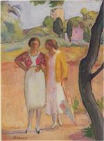Henri Lebasque  - Bilder Gemälde - Two Ladies on a Stroll