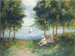 Henri Lebasque  - Bilder Gemälde - Two Young girls by the river Eau