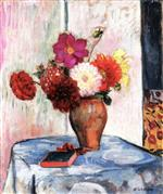 Henri Lebasque  - Bilder Gemälde - Vase of Dahlias with Book on a Table