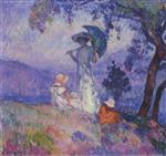 Henri Lebasque  - Bilder Gemälde - Walk in the Mountains at Saint Tropez