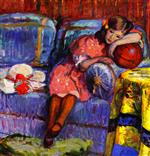 Bild:Young girl and the red balloon
