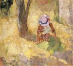Henri Lebasque  - Bilder Gemälde - Young girl reading a book