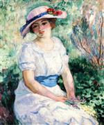 Henri Lebasque  - Bilder Gemälde - Young Girl with a Blue Belt